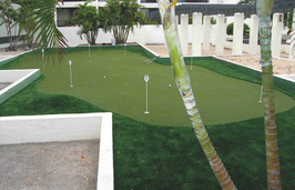 esplanade condo with synthetic turf putting green