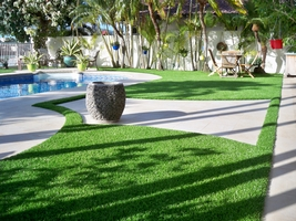 pool with synthetic turf lawn
