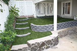 tiered lawn with artificial grass