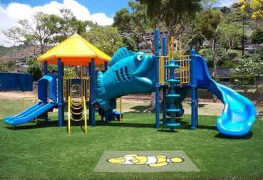 Miracle Playground equipemnt with artificial turf safety surfacing