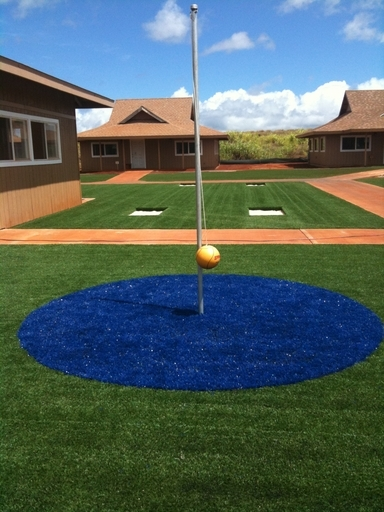 teather ball court with artificial turf